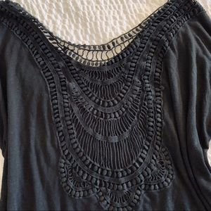 3/4 sleeve black loose fit with embroidered/lace